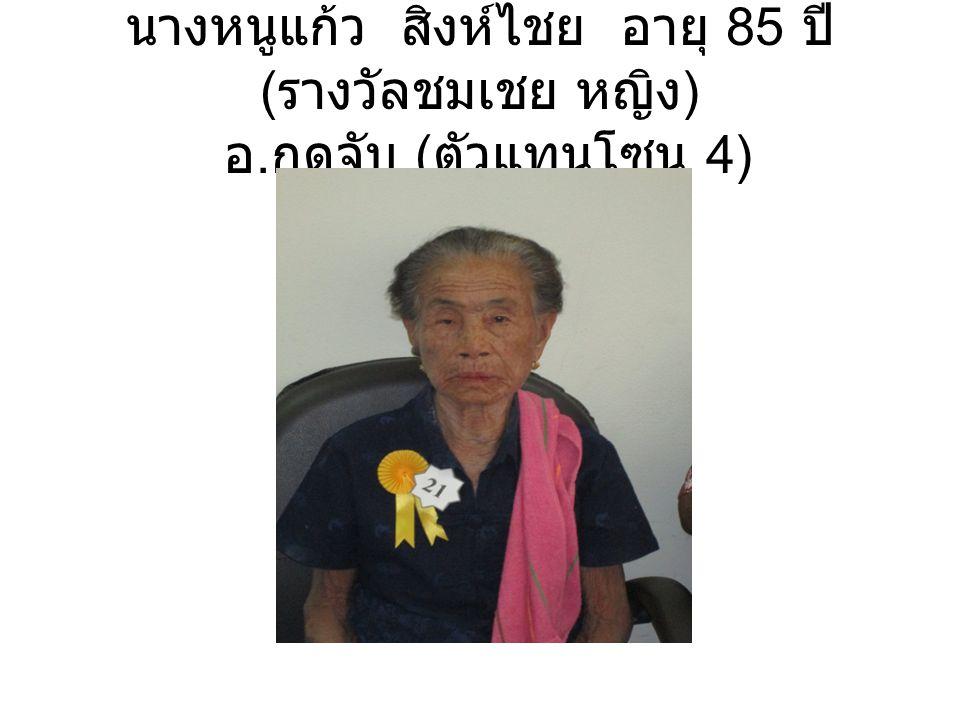 นางหนูแก้ว สิงห์ไชย อายุ 85 ปี ( รางวัลชมเชย หญิง ) อ. กุดจับ ( ตัวแทนโซน 4)