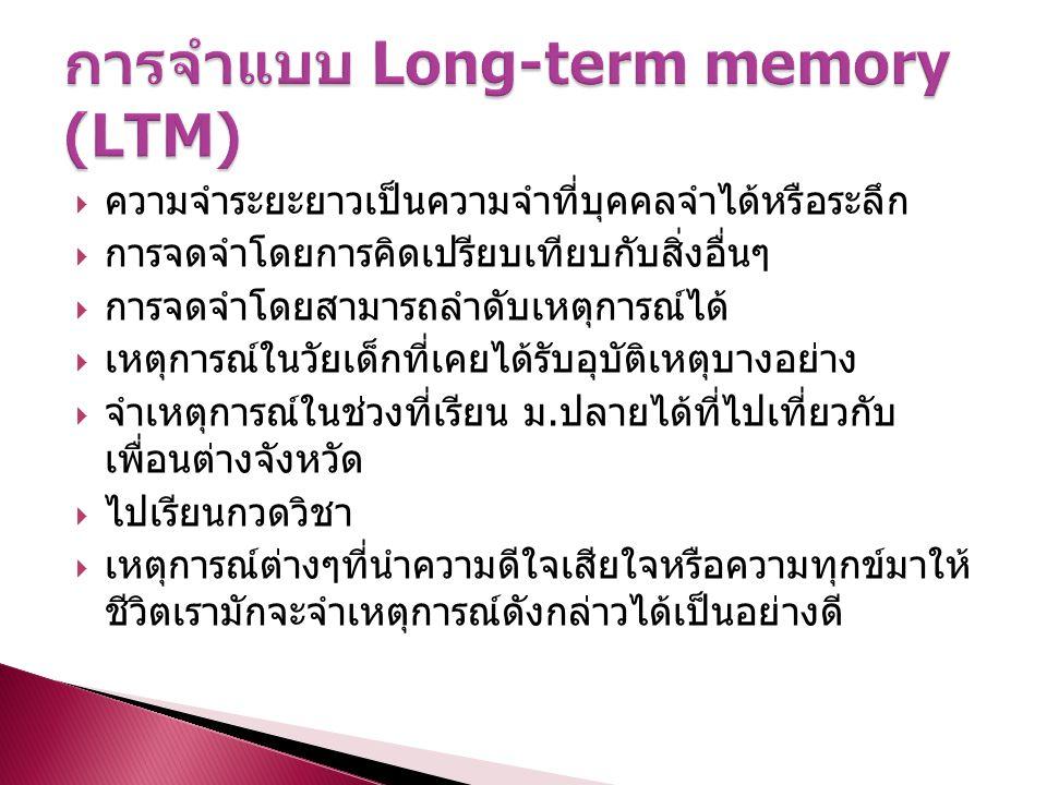  ความจำระยะยาวเป็นความจำที่บุคคลจำได้หรือระลึก  การจดจำโดยการคิดเปรียบเทียบกับสิ่งอื่นๆ  การจดจำโดยสามารถลำดับเหตุการณ์ได้  เหตุการณ์ในวัยเด็กที่เ