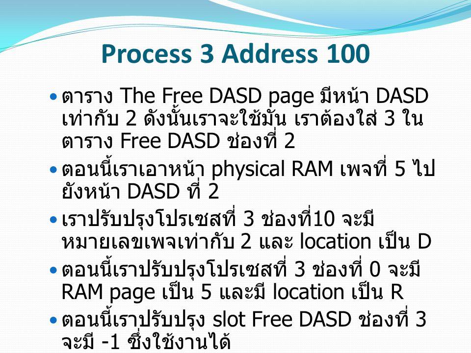Process 3 Address 100 ตาราง The Free DASD page มีหน้า DASD เท่ากับ 2 ดังนั้นเราจะใช้มัน เราต้องใส่ 3 ใน ตาราง Free DASD ช่องที่ 2 ตอนนี้เราเอาหน้า phy