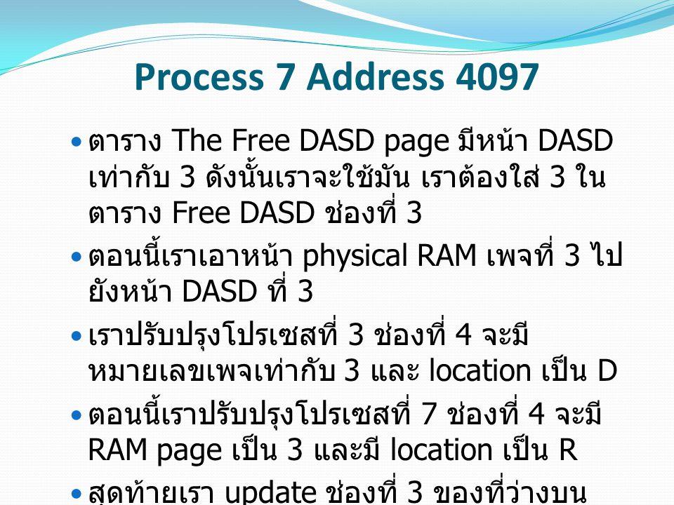 Process 7 Address 4097 ตาราง The Free DASD page มีหน้า DASD เท่ากับ 3 ดังนั้นเราจะใช้มัน เราต้องใส่ 3 ใน ตาราง Free DASD ช่องที่ 3 ตอนนี้เราเอาหน้า physical RAM เพจที่ 3 ไป ยังหน้า DASD ที่ 3 เราปรับปรุงโปรเซสที่ 3 ช่องที่ 4 จะมี หมายเลขเพจเท่ากับ 3 และ location เป็น D ตอนนี้เราปรับปรุงโปรเซสที่ 7 ช่องที่ 4 จะมี RAM page เป็น 3 และมี location เป็น R สุดท้ายเรา update ช่องที่ 3 ของที่ว่างบน RAM Page เพื่อที่จะอัพเดตเวลาที่เราเข้าถึง หน้านี้ และเปลี่ยน PID ไปเป็น 7