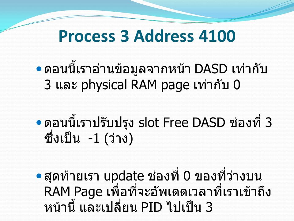 Process 3 Address 4100 ตอนนี้เราอ่านข้อมูลจากหน้า DASD เท่ากับ 3 และ physical RAM page เท่ากับ 0 ตอนนี้เราปรับปรุง slot Free DASD ช่องที่ 3 ซึ่งเป็น -