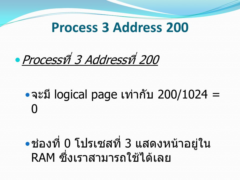Process 3 Address 200 Process ที่ 3 Address ที่ 200 จะมี logical page เท่ากับ 200/1024 = 0 ช่องที่ 0 โปรเซสที่ 3 แสดงหน้าอยู่ใน RAM ซึ่งเราสามารถใช้ได
