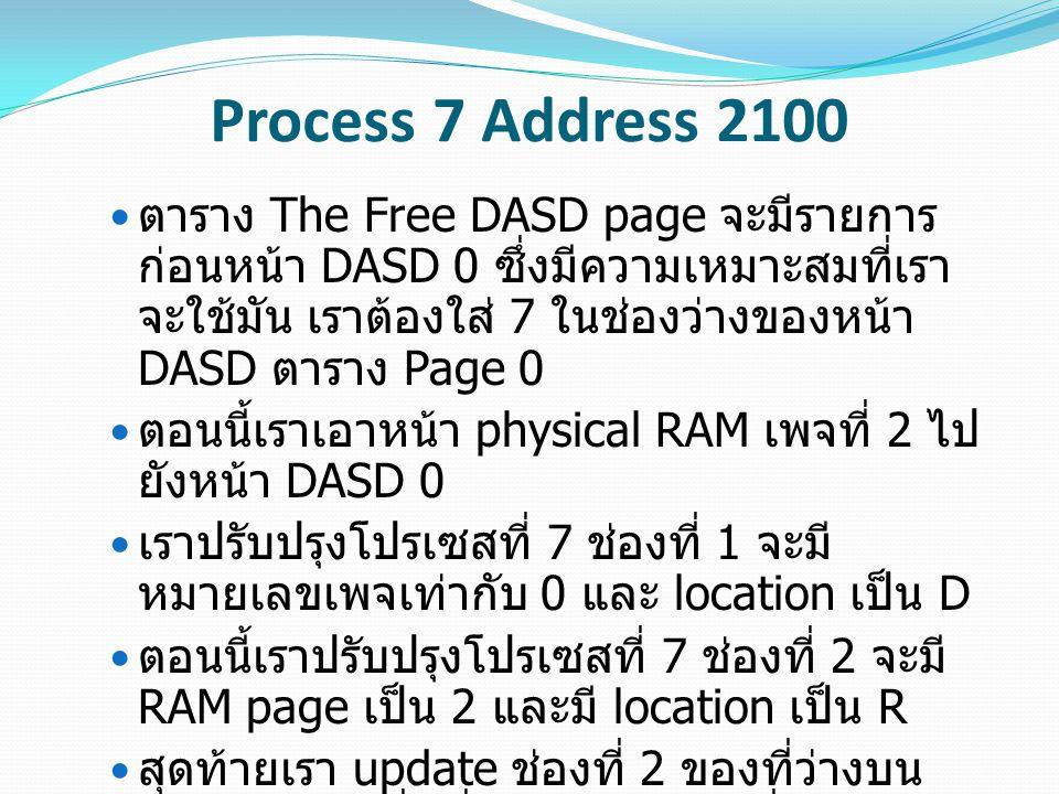 Process 7 Address 2100 ตาราง The Free DASD page จะมีรายการ ก่อนหน้า DASD 0 ซึ่งมีความเหมาะสมที่เรา จะใช้มัน เราต้องใส่ 7 ในช่องว่างของหน้า DASD ตาราง Page 0 ตอนนี้เราเอาหน้า physical RAM เพจที่ 2 ไป ยังหน้า DASD 0 เราปรับปรุงโปรเซสที่ 7 ช่องที่ 1 จะมี หมายเลขเพจเท่ากับ 0 และ location เป็น D ตอนนี้เราปรับปรุงโปรเซสที่ 7 ช่องที่ 2 จะมี RAM page เป็น 2 และมี location เป็น R สุดท้ายเรา update ช่องที่ 2 ของที่ว่างบน RAM Page เพื่อที่จะอัพเดตเวลาที่เราเข้าถึง หน้านี้