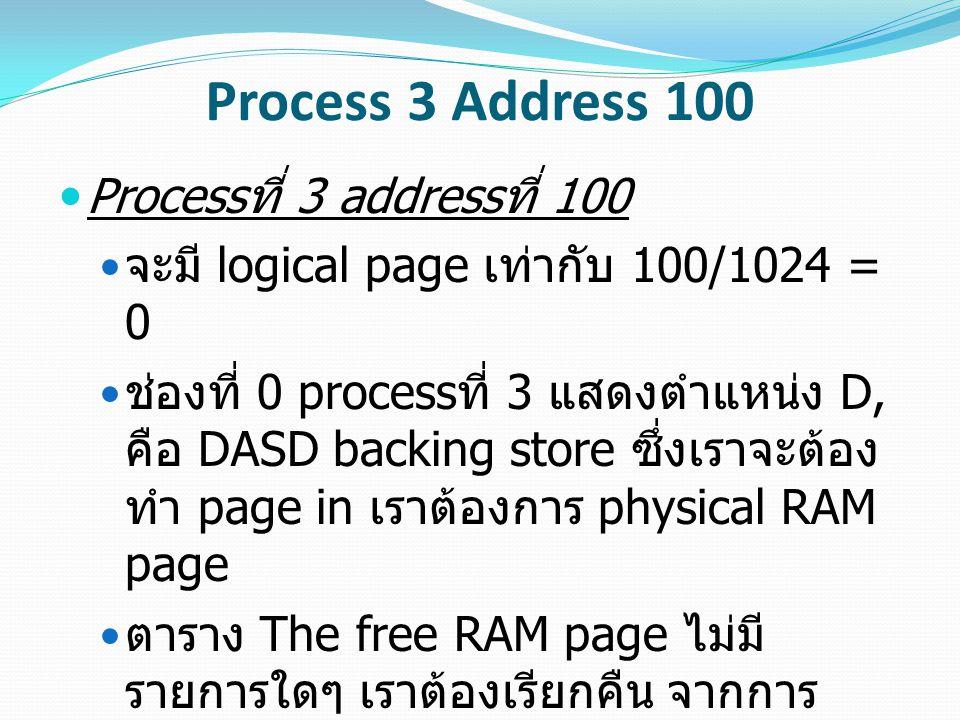 Process 3 Address 100 ตาราง The Free DASD page มีหน้า DASD เท่ากับ 2 ดังนั้นเราจะใช้มัน เราต้องใส่ 3 ใน ตาราง Free DASD ช่องที่ 2 ตอนนี้เราเอาหน้า physical RAM เพจที่ 5 ไป ยังหน้า DASD ที่ 2 เราปรับปรุงโปรเซสที่ 3 ช่องที่ 10 จะมี หมายเลขเพจเท่ากับ 2 และ location เป็น D ตอนนี้เราปรับปรุงโปรเซสที่ 3 ช่องที่ 0 จะมี RAM page เป็น 5 และมี location เป็น R ตอนนี้เราปรับปรุง slot Free DASD ช่องที่ 3 จะมี -1 ซึ่งใช้งานได้ สุดท้ายเรา update ช่องที่ 5 ของที่ว่างบน RAM Page เพื่อที่จะอัพเดตเวลาที่เราเข้าถึง หน้านี้