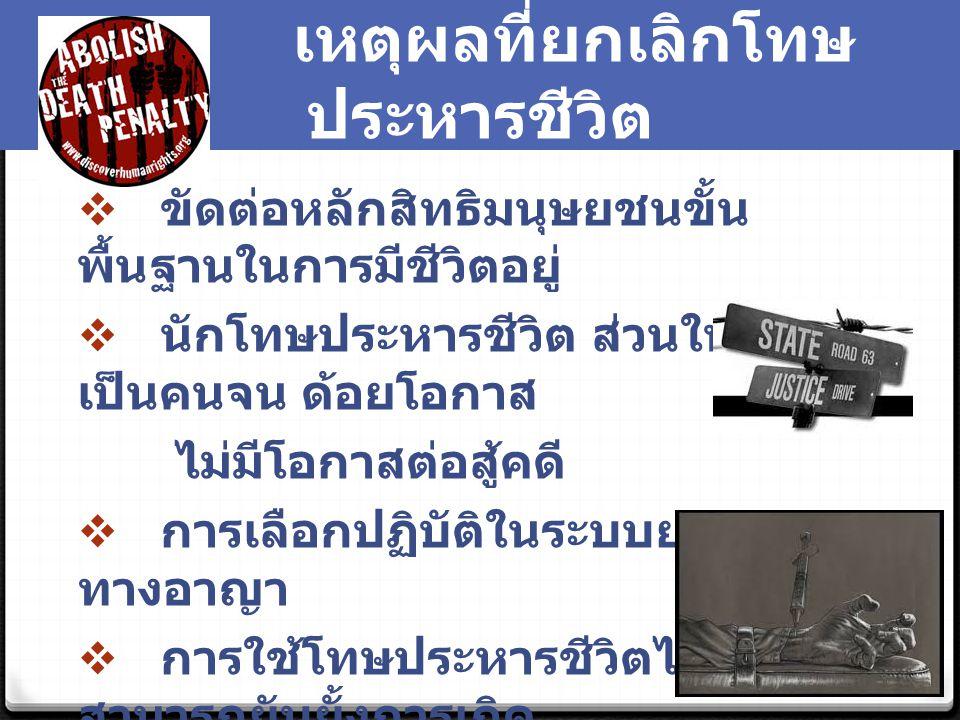 ทิศทางการเปลี่ยนแปลงโทษ ประหารชีวิตในประเทศไทย