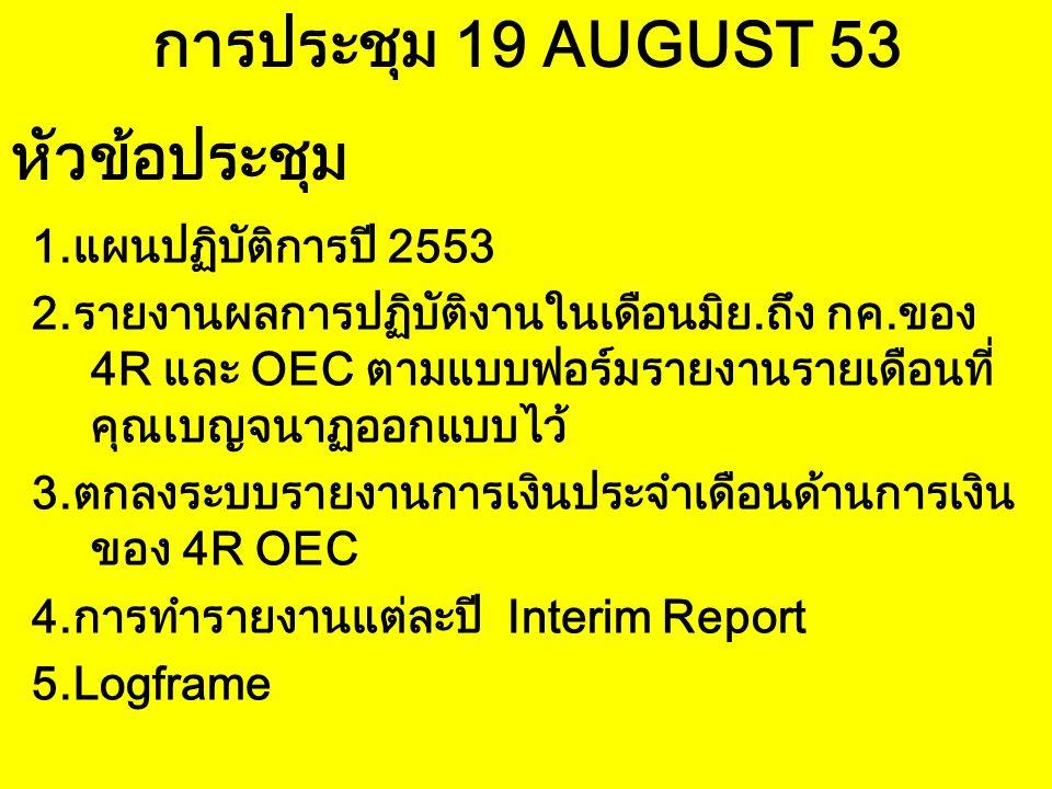 การประชุม 19 AUGUST 53 1.แผนปฏิบัติการปี 2553 2.รายงานผลการปฏิบัติงานในเดือนมิย.ถึง กค.ของ 4R และ OEC ตามแบบฟอร์มรายงานรายเดือนที่ คุณเบญจนาฏออกแบบไว้ 3.ตกลงระบบรายงานการเงินประจำเดือนด้านการเงิน ของ 4R OEC 4.การทำรายงานแต่ละปี Interim Report 5.Logframe หัวข้อประชุม