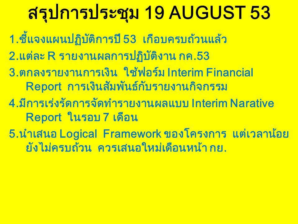 สรุปการประชุม 19 AUGUST 53 1.ชี้แจงแผนปฏิบัติการปี 53 เกือบครบถ้วนแล้ว 2.แต่ละ R รายงานผลการปฏิบัติงาน กค.53 3.ตกลงรายงานการเงิน ใช้ฟอร์ม Interim Financial Report การเงินสัมพันธ์กับรายงานกิจกรรม 4.มีการเร่งรัดการจัดทำรายงานผลแบบ Interim Narative Report ในรอบ 7 เดือน 5.นำเสนอ Logical Framework ของโครงการ แต่เวลาน้อย ยังไม่ครบถ้วน ควรเสนอใหม่เดือนหน้า กย.