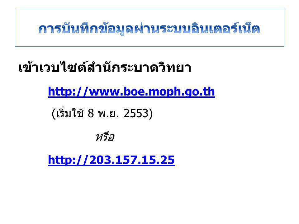 เข้าเวบไซต์สำนักระบาดวิทยา http://www.boe.moph.go.th http://www.boe.moph.go.th (เริ่มใช้ 8 พ.ย.