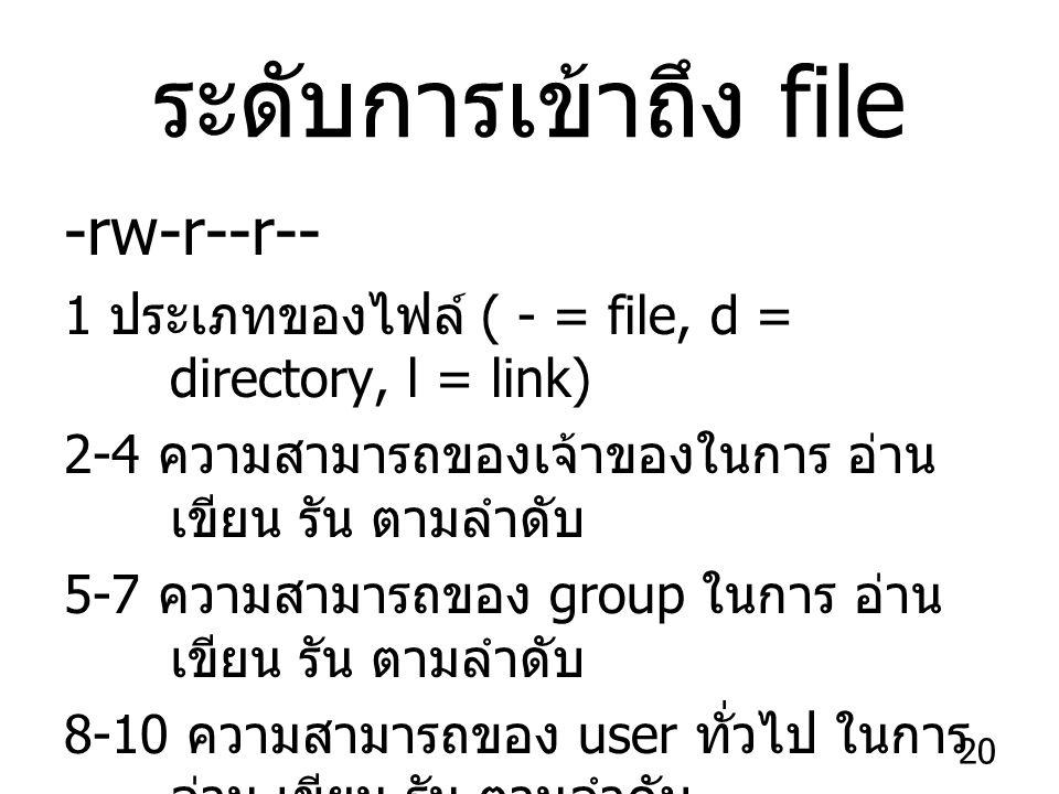 20 ระดับการเข้าถึง file -rw-r--r-- 1 ประเภทของไฟล์ ( - = file, d = directory, l = link) 2-4 ความสามารถของเจ้าของในการ อ่าน เขียน รัน ตามลำดับ 5-7 ความสามารถของ group ในการ อ่าน เขียน รัน ตามลำดับ 8-10 ความสามารถของ user ทั่วไป ในการ อ่าน เขียน รัน ตามลำดับ