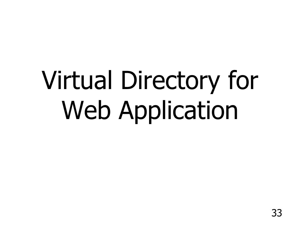 33 Virtual Directory for Web Application
