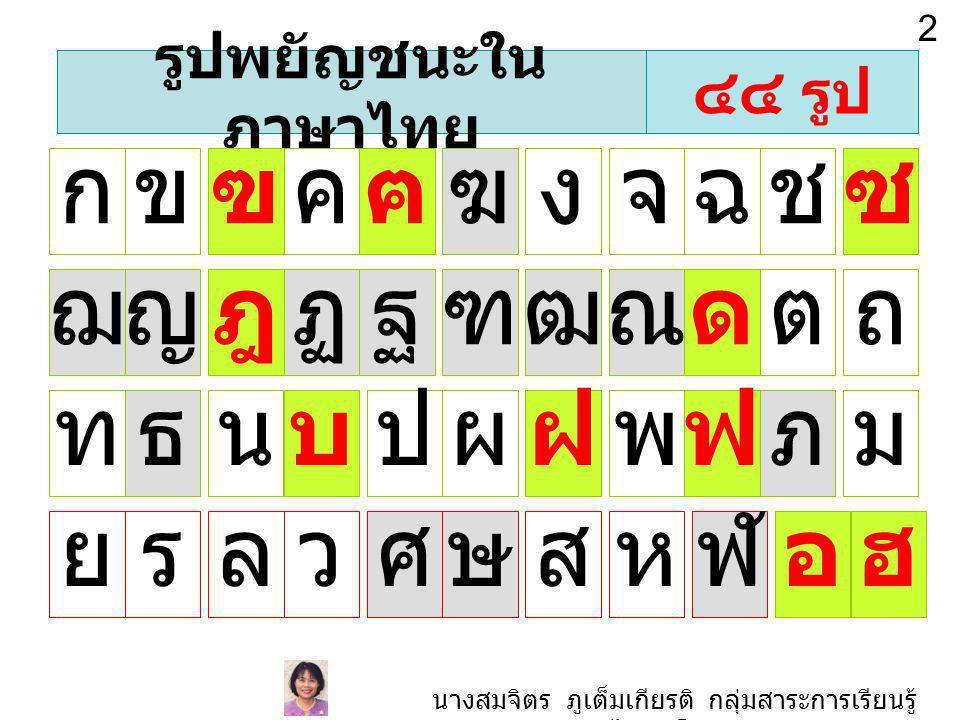 รูปพยัญชนะใน ภาษาไทย กขฃคฅฆงจฉชซ ฌญฎฏฐฑฒณดตถ ทธนบปผฝพฟภม ยรลวศษสหฬอฮ ๔๔ รูป 2 นางสมจิตร ภูเต็มเกียรติ กลุ่มสาระการเรียนรู้ ภาษาไทย โรงเรียนศรีบุณยานนท