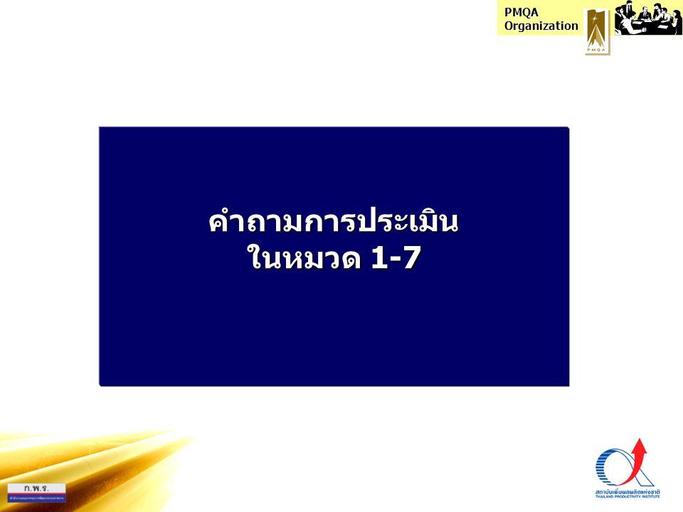 PMQA Organization คำถามการประเมิน ในหมวด 1-7