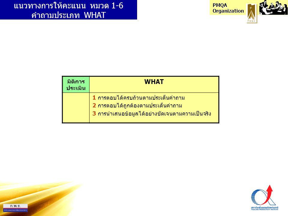 PMQA Organization มิติการ ประเมิน WHAT 1 การตอบได้ครบถ้วนตามประเด็นคำถาม 2 การตอบได้ถูกต้องตามประเด็นคำถาม 3 การนำเสนอข้อมูลได้อย่างชัดเจนตามความเป็นจ