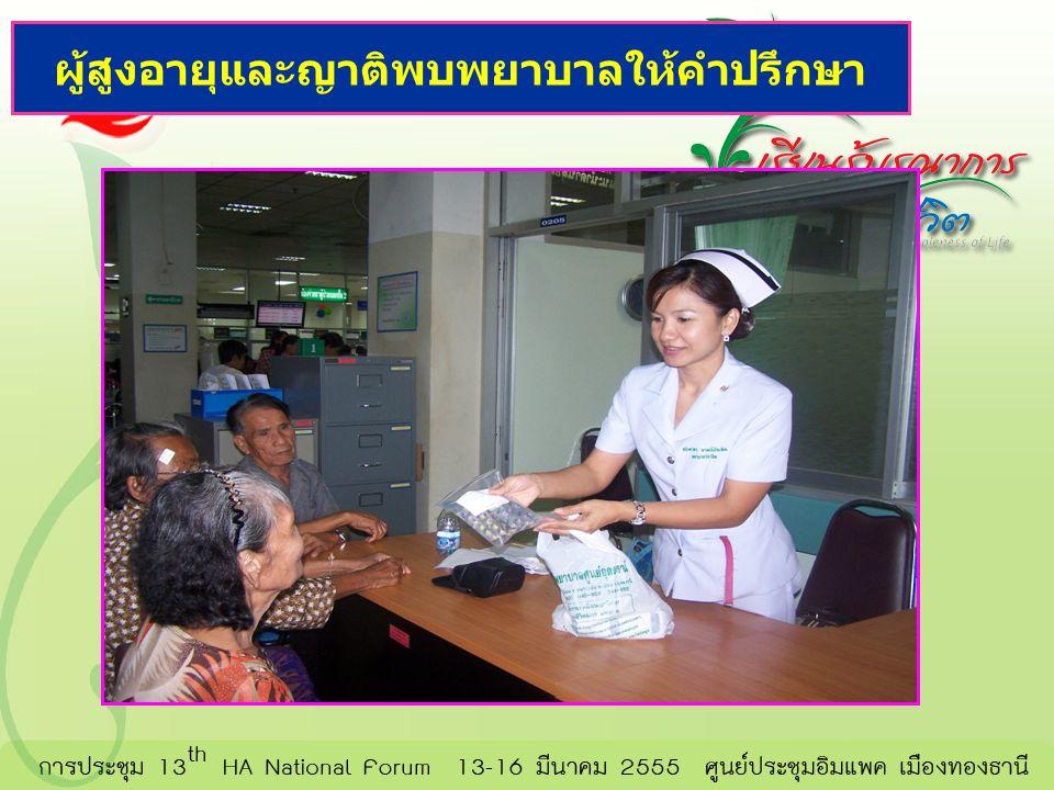 ผู้สูงอายุและญาติพบพยาบาลให้คำปรึกษา