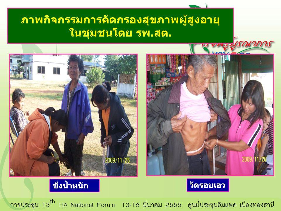 ภาพกิจกรรมการคัดกรองสุขภาพผู้สูงอายุ ในชุมชนโดย รพ.สต. ชั่งน้ำหนัก วัดรอบเอว