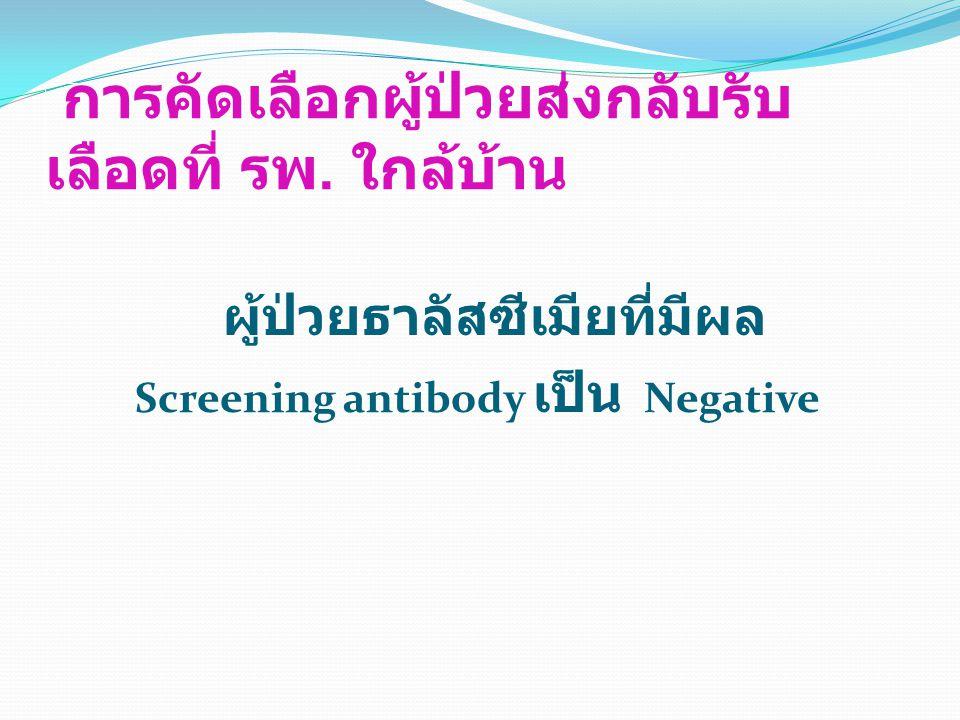 การคัดเลือกผู้ป่วยส่งกลับรับ เลือดที่ รพ. ใกล้บ้าน ผู้ป่วยธาลัสซีเมียที่มีผล Screening antibody เป็น Negative