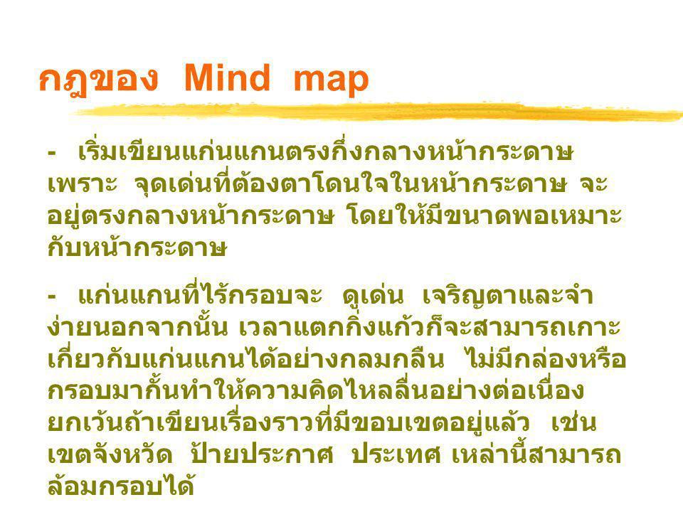 กฎของ Mind map ( ต่อ ) - เหตุที่ต้องให้กิ่งแก้วต่อตรงออกมาจากแก่นแกน ก็เพื่อเน้นความสำคัญของประเด็นหลัก และการ เชื่อมโยง - ส่วนเส้นกับคำนั้นหากคิดคำได้ก็เขียนคำลงไป ก่อนแล้วลากเส้นเชื่อมกับแก่นแกน - การเขียนตัวหนาก็จะช่วยให้เด่นและจำง่าย - การต่ออย่างไม่ขาดสายของเส้นใน Mind map สำคัญมากเพราะแทนการเชื่อมโยงความคิด - หลังจากแตกกิ่งแก้วหรือประเด็นที่สำคัญได้ครบ แล้ว ให้ลงรายละเอียดประเด็นย่อยในกิ่งก้อย ที่ แยกแขนงออกมาจากกิ่งแก้วแต่ละกิ่งโดยทั้งคำ / ภาพและเส้นในกิ่งก้อย ให้ใช้สีเดียวกับกิ่งแก้วที่ แตกแขนงออกมา เพื่อให้จำง่าย
