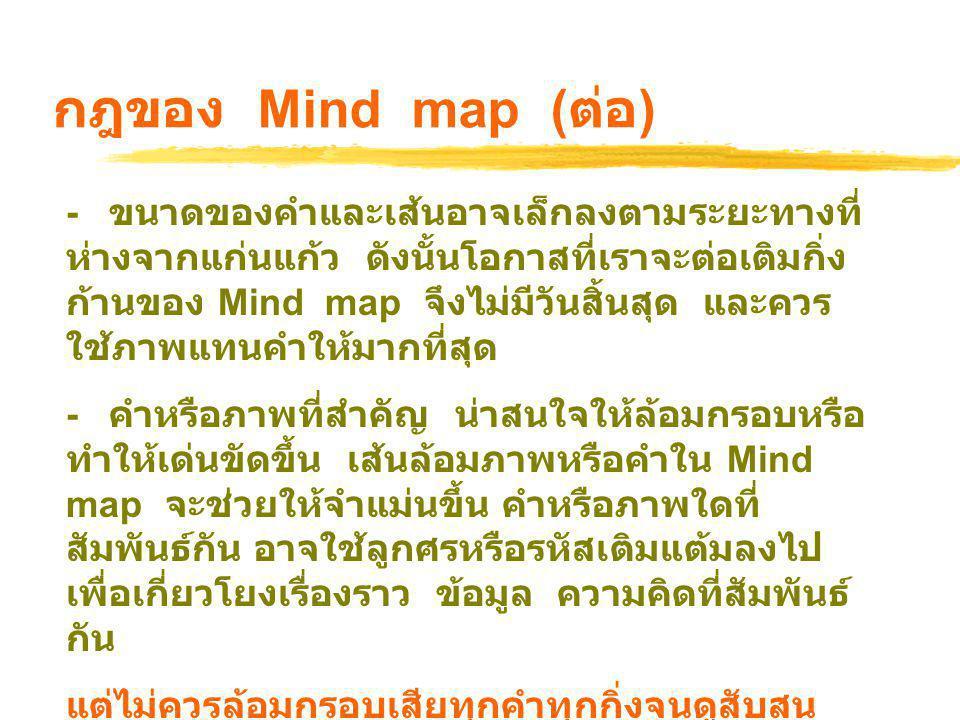 ประโยชน์ของ Mine Mapping  ช่วยความจำ  ทำให้มีความคิดสร้างสรรค์  ทำให้เห็นภาพรวม