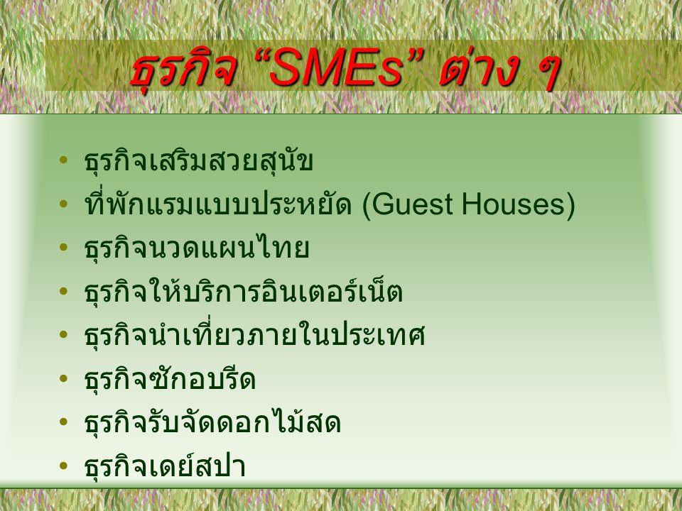 เว็บไซด์เกี่ยวกับ SMEs http://www.smethai.go.th http://www.sme.go.th http://www.ismed.or.th http://www.otopweb.com http://www.thaitambon.com http://www.depthai.go.th/th/newDep/1pr oducts.asp http://www.tisi.go.th/otop/otop.thml http://www.sme.go.th/websme/otop/defa ult.asp