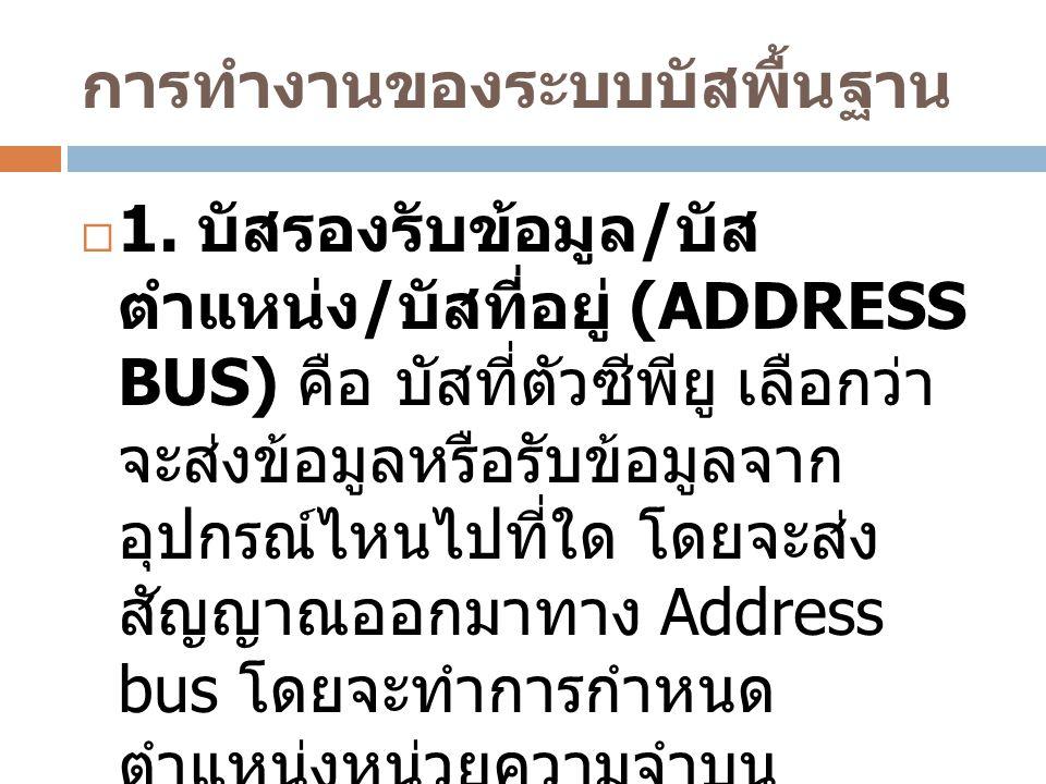 การทำงานของระบบบัสพื้นฐาน  1. บัสรองรับข้อมูล / บัส ตำแหน่ง / บัสที่อยู่ (ADDRESS BUS) คือ บัสที่ตัวซีพียู เลือกว่า จะส่งข้อมูลหรือรับข้อมูลจาก อุปกร