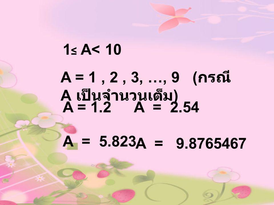 1 ≤ A< 10 A = 1, 2, 3, …, 9 ( กรณี A เป็นจำนวนเต็ม ) A = 1.2A = 2.54 A = 5.823 A = 9.8765467