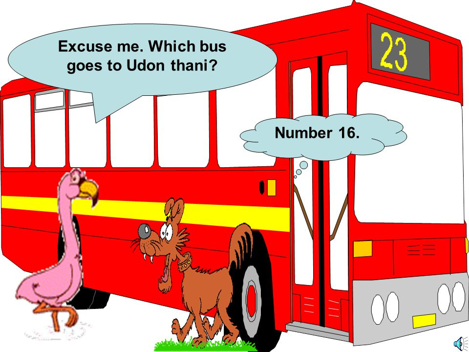 Excuse me. Which bus goes to Udon thani? Number 16.