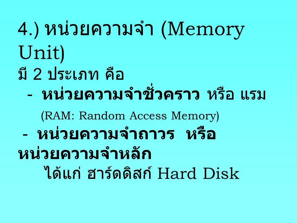 4.) หน่วยความจำ (Memory Unit) มี 2 ประเภท คือ - หน่วยความจำชั่วคราว หรือ แรม (RAM: Random Access Memory) - หน่วยความจำถาวร หรือ หน่วยความจำหลัก ได้แก่