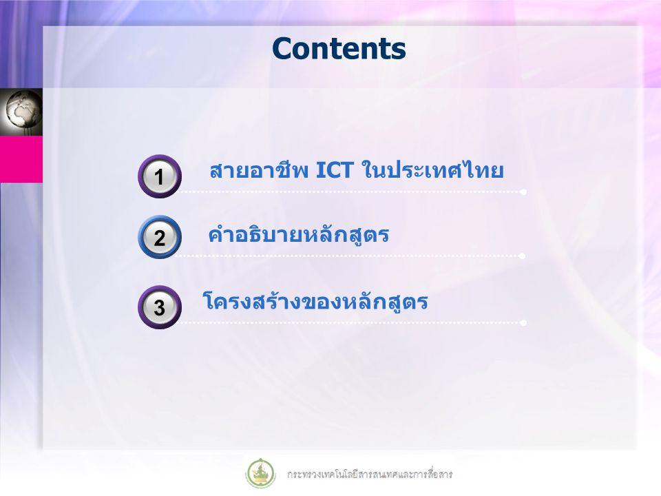 Contents คำอธิบายหลักสูตร 2 สายอาชีพ ICT ในประเทศไทย 31 โครงสร้างของหลักสูตร 33