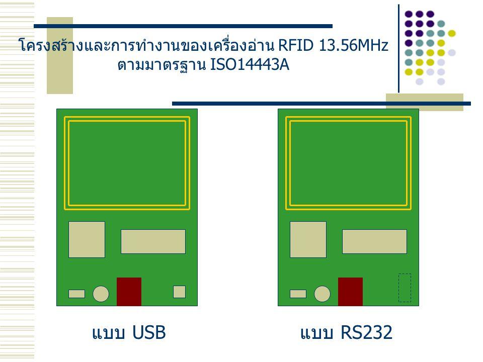 โครงสร้างและการทำงานของเครื่องอ่าน RFID 13.56MHz ตามมาตรฐาน ISO14443A แบบ USBแบบ RS232