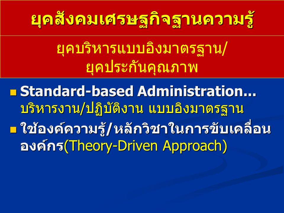 ยุคสังคมเศรษฐกิจฐานความรู้ Standard-based Administration... บริหารงาน/ปฏิบัติงาน แบบอิงมาตรฐาน Standard-based Administration... บริหารงาน/ปฏิบัติงาน แ