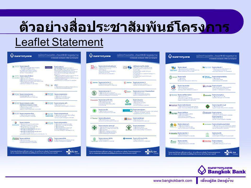 Credit Card Division ตัวอย่างสื่อประชาสัมพันธ์โครงการ Leaflet Statement