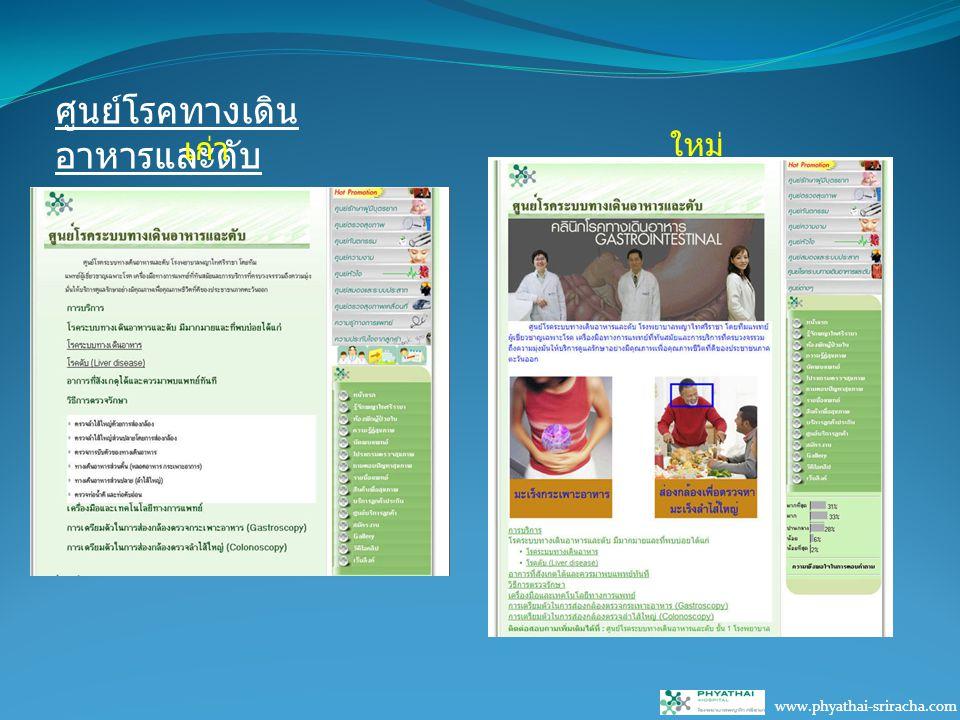 ศูนย์โรคทางเดิน อาหารและตับ www.phyathai-sriracha.com เก่า ใหม่