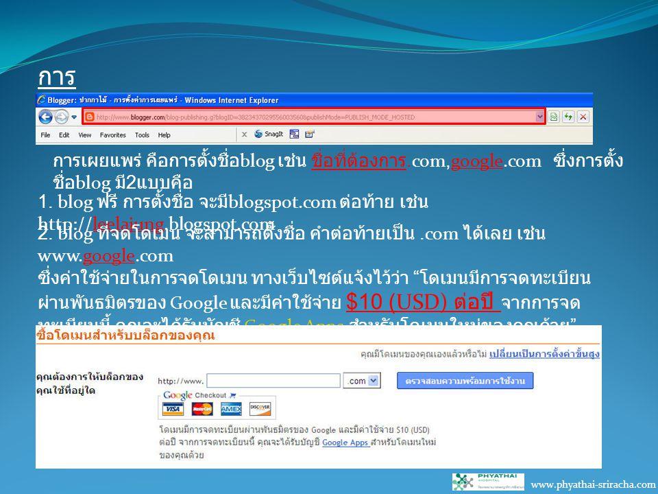 การ เผยแพร่ www.phyathai-sriracha.com การเผยแพร่ คือการตั้งชื่อ blog เช่น ชื่อที่ต้องการ.com,google.com ซึ่งการตั้ง ชื่อ blog มี 2 แบบคือ 1.