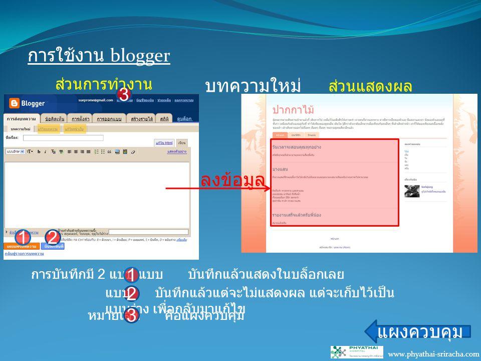 การใช้งาน blogger www.phyathai-sriracha.com บทความใหม่ แผงควบคุม ลงข้อมูล 12 การบันทึกมี 2 แบบ แบบ บันทึกแล้วแสดงในบล็อกเลย 1 2 แบบ บันทึกแล้วแต่จะไม่แสดงผล แต่จะเก็บไว้เป็น แบบร่าง เพื่อกลับมาแก้ไข 3 หมายเลข คือแผงควบคุม 3 ส่วนการทำงาน ส่วนแสดงผล