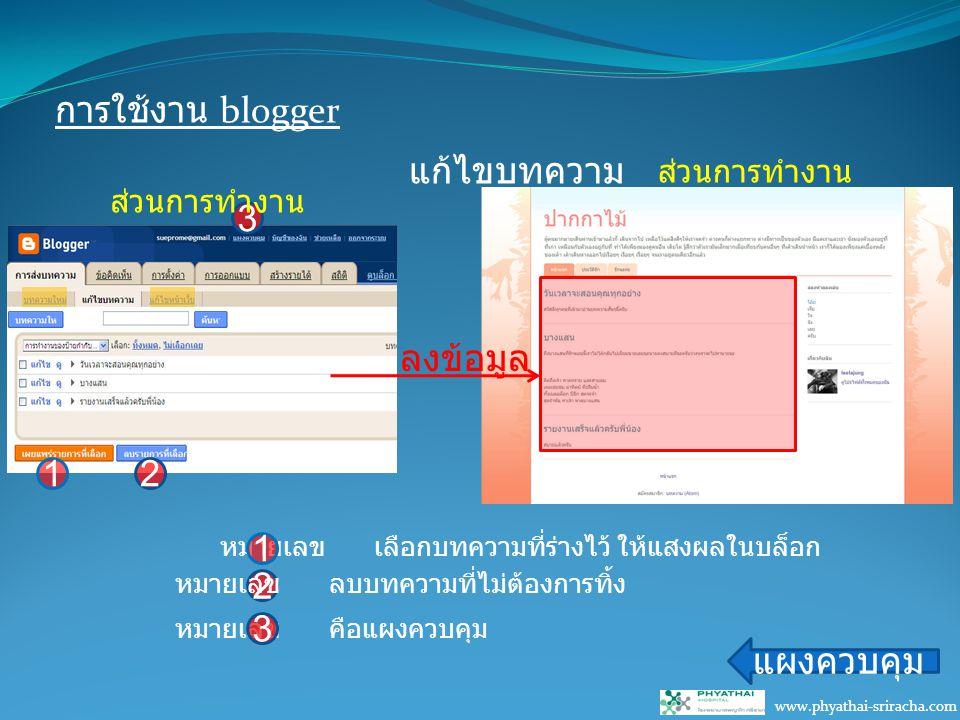การใช้งาน blogger www.phyathai-sriracha.com แก้ไขบทความ แผงควบคุม ลงข้อมูล หมายเลข เลือกบทความที่ร่างไว้ ให้แสงผลในบล็อก 1 2 หมายเลข ลบบทความที่ไม่ต้องการทิ้ง 3 หมายเลข คือแผงควบคุม 3 12 ส่วนการทำงาน