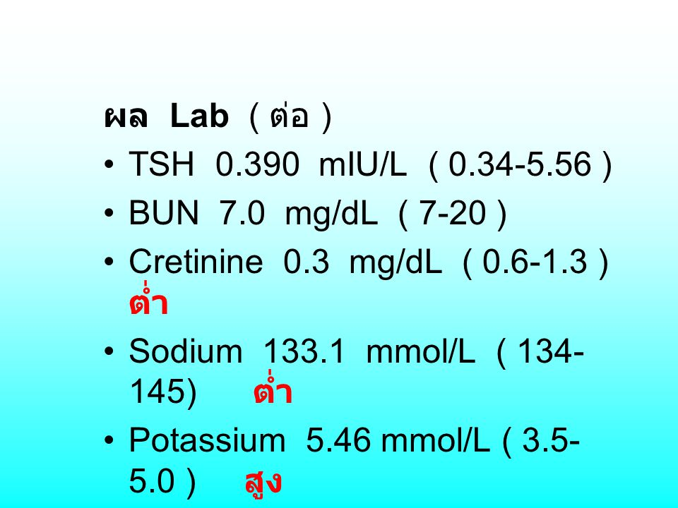 ผล Lab ( ต่อ ) TSH 0.390 mIU/L ( 0.34-5.56 ) BUN 7.0 mg/dL ( 7-20 ) Cretinine 0.3 mg/dL ( 0.6-1.3 ) ต่ำ Sodium 133.1 mmol/L ( 134- 145) ต่ำ Potassium