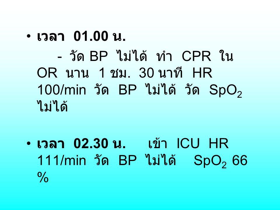 เวลา 01.00 น. - วัด BP ไม่ได้ ทำ CPR ใน OR นาน 1 ชม. 30 นาที HR 100/min วัด BP ไม่ได้ วัด SpO 2 ไม่ได้ เวลา 02.30 น. เข้า ICU HR 111/min วัด BP ไม่ได้