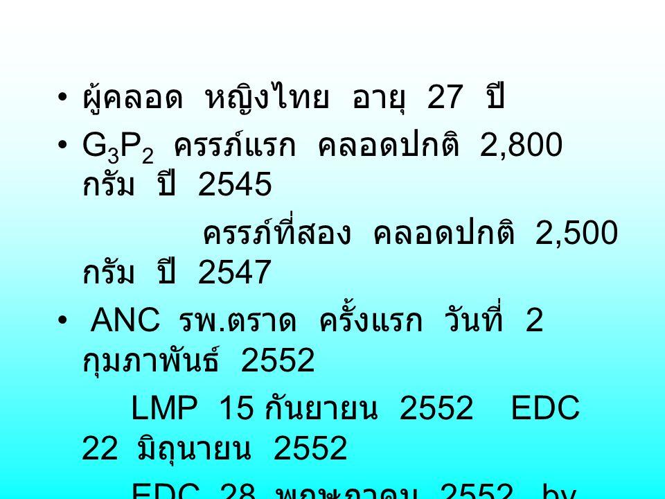 ผู้คลอด หญิงไทย อายุ 27 ปี G 3 P 2 ครรภ์แรก คลอดปกติ 2,800 กรัม ปี 2545 ครรภ์ที่สอง คลอดปกติ 2,500 กรัม ปี 2547 ANC รพ. ตราด ครั้งแรก วันที่ 2 กุมภาพั