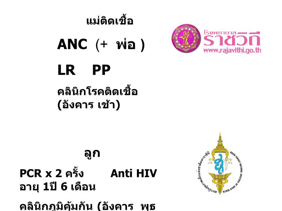 แม่ติดเชื้อ ANC (+ พ่อ ) LR PP คลินิกโรคติดเชื้อ ( อังคาร เช้า ) ลูก PCR x 2 ครั้ง Anti HIV อายุ 1 ปี 6 เดือน คลินิกภูมิคุ้มกัน ( อังคาร พุธ บ่าย )
