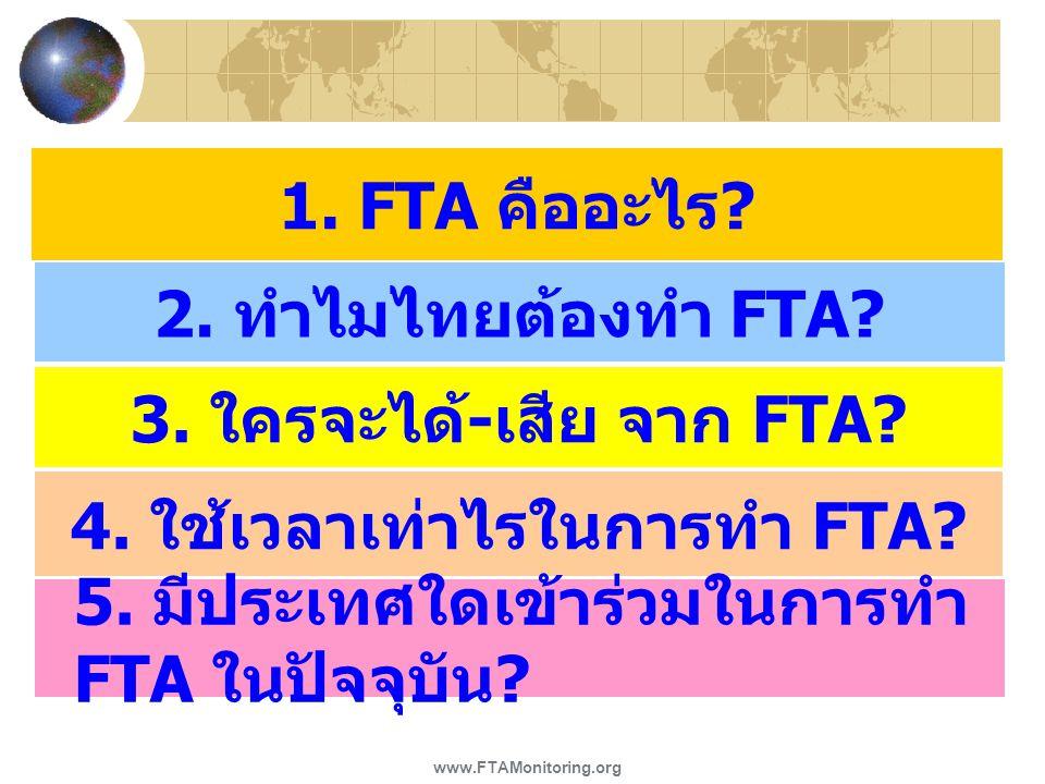 1. FTA คืออะไร ? 2. ทำไมไทยต้องทำ FTA? 3. ใครจะได้ - เสีย จาก FTA? 4. ใช้เวลาเท่าไรในการทำ FTA? 5. มีประเทศใดเข้าร่วมในการทำ FTA ในปัจจุบัน ? www.FTAM