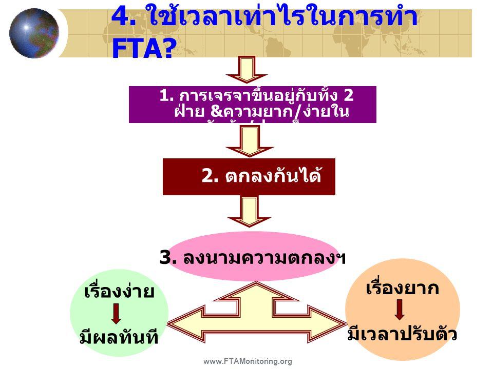 4. ใช้เวลาเท่าไรในการทำ FTA? 1. การเจรจาขึ้นอยู่กับทั้ง 2 ฝ่าย & ความยาก / ง่ายใน หัวข้อ / ประเด็นฯ 2. ตกลงกันได้ 3. ลงนามความตกลงฯ เรื่องง่าย มีผลทัน