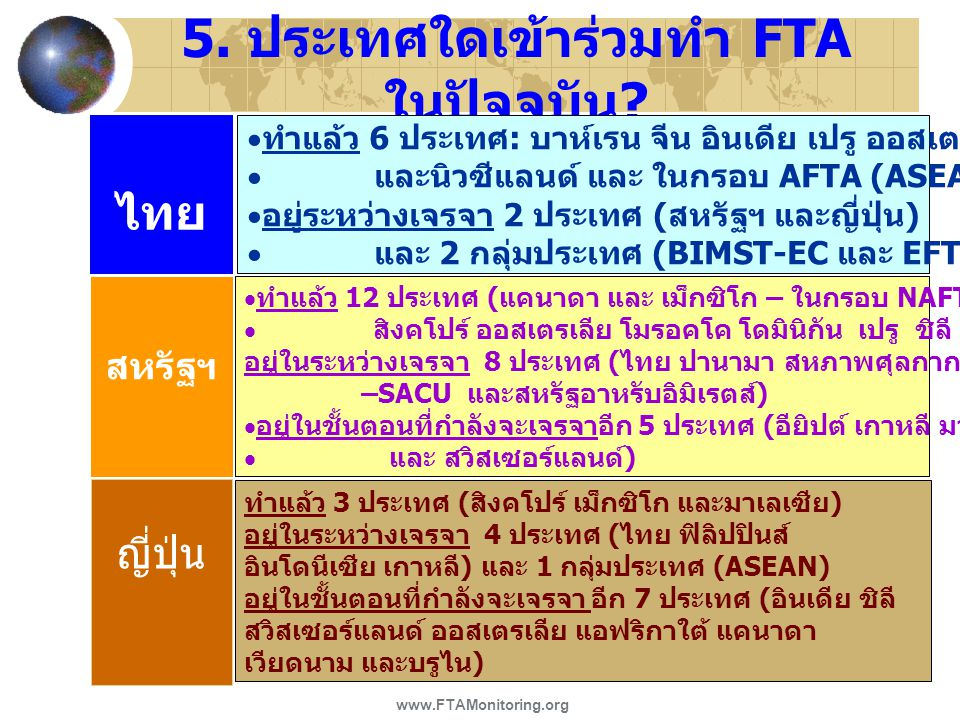 5. ประเทศใดเข้าร่วมทำ FTA ในปัจจุบัน ? ไทย สหรัฐฯ   ทำแล้ว 6 ประเทศ : บาห์เรน จีน อินเดีย เปรู ออสเตรเลีย   และนิวซีแลนด์ และ ในกรอบ AFTA (ASEAN)