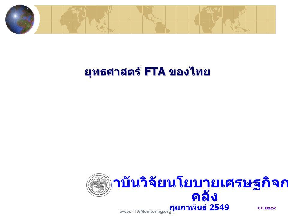 ยุทธศาสตร์ FTA ของไทย สถาบันวิจัยนโยบายเศรษฐกิจการ คลัง กุมภาพันธ์ 2549 www.FTAMonitoring.org << Back << Back