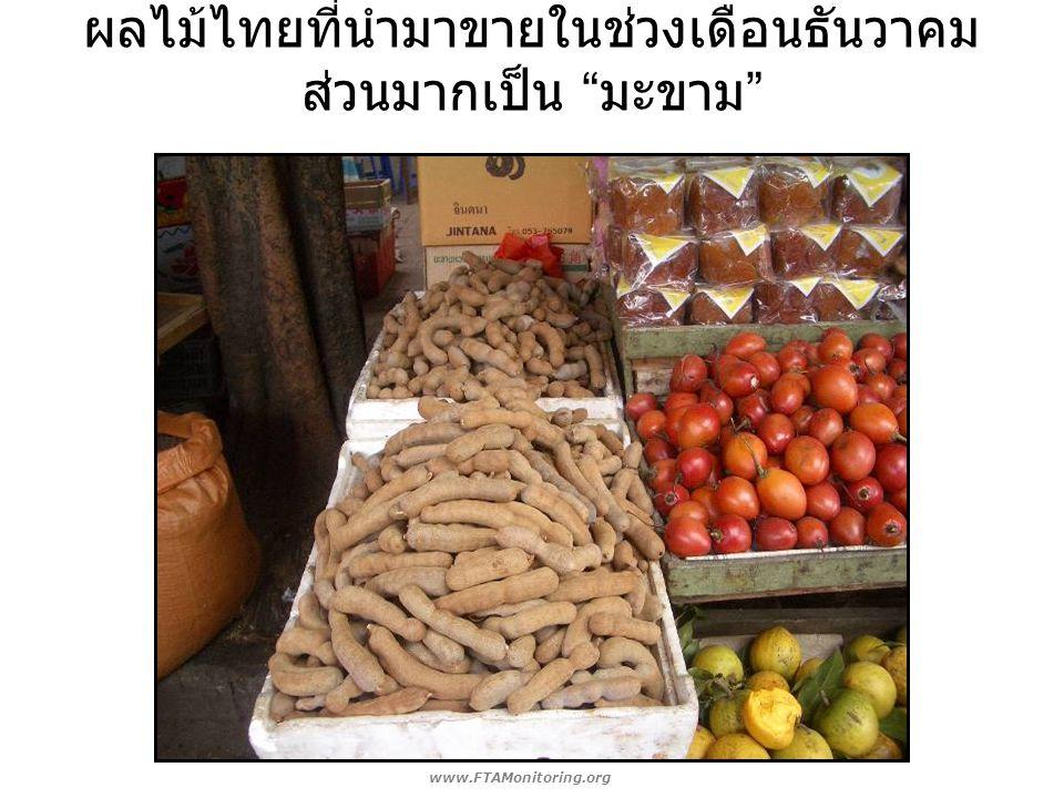 """ผลไม้ไทยที่นำมาขายในช่วงเดือนธันวาคม ส่วนมากเป็น """" มะขาม """" www.FTAMonitoring.org"""