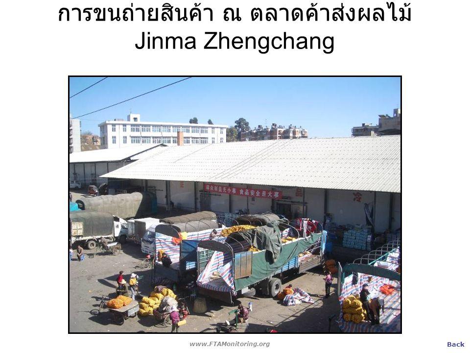 การขนถ่ายสินค้า ณ ตลาดค้าส่งผลไม้ Jinma Zhengchang www.FTAMonitoring.org Back