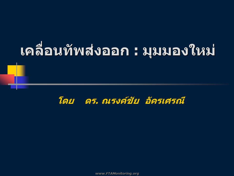 เคลื่อนทัพส่งออก : มุมมองใหม่ I.มิติใหม่ของการค้า / การลงทุน ระหว่าง ประเทศ II.การจัดระบบเศรษฐกิจเพื่อส่งเสริมการ ส่งออกของภาครัฐ III.การปรับตัวของภาคธุรกิจเพื่อการส่งออก www.FTAMonitoring.org