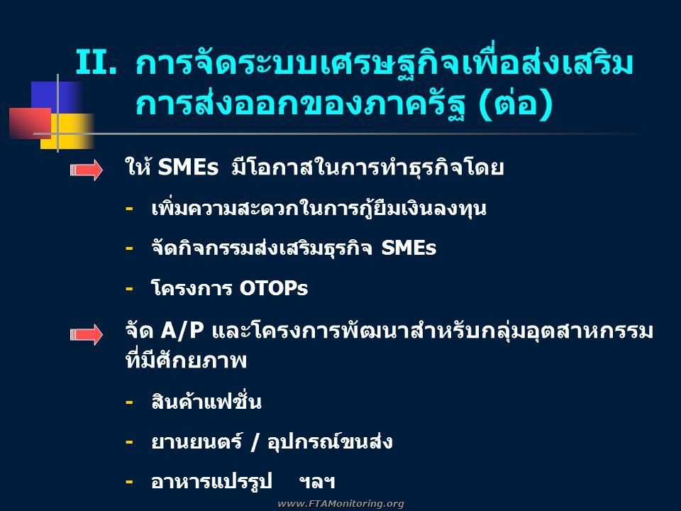 ให้ SMEs มีโอกาสในการทำธุรกิจโดย -เพิ่มความสะดวกในการกู้ยืมเงินลงทุน -จัดกิจกรรมส่งเสริมธุรกิจ SMEs -โครงการ OTOPs จัด A/P และโครงการพัฒนาสำหรับกลุ่มอุตสาหกรรม ที่มีศักยภาพ -สินค้าแฟชั่น -ยานยนตร์ / อุปกรณ์ขนส่ง -อาหารแปรรูป ฯลฯ II.