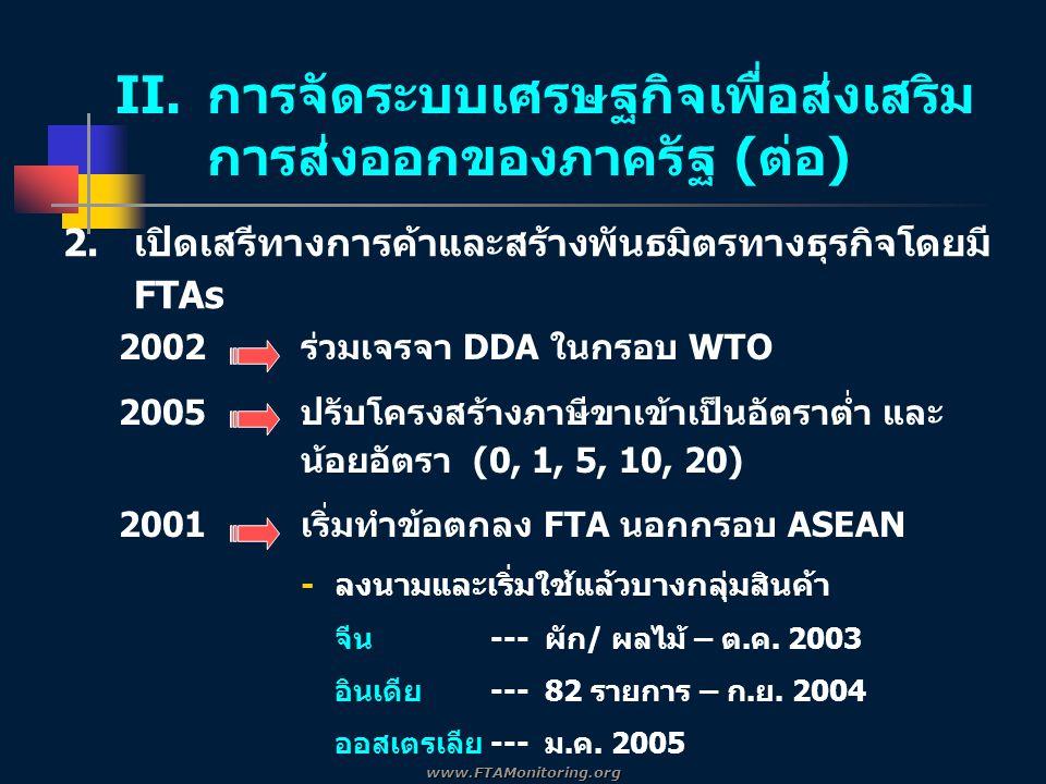 2002ร่วมเจรจา DDA ในกรอบ WTO 2005ปรับโครงสร้างภาษีขาเข้าเป็นอัตราต่ำ และ น้อยอัตรา (0, 1, 5, 10, 20) 2001เริ่มทำข้อตกลง FTA นอกกรอบ ASEAN -ลงนามและเริ่มใช้แล้วบางกลุ่มสินค้า จีน --- ผัก/ ผลไม้ – ต.ค.