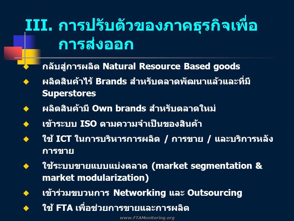  กลับสู่การผลิต Natural Resource Based goods  ผลิตสินค้าไร้ Brands สำหรับตลาดพัฒนาแล้วและที่มี Superstores  ผลิตสินค้ามี Own brands สำหรับตลาดใหม่  เข้าระบบ ISO ตามความจำเป็นของสินค้า  ใช้ ICT ในการบริหารการผลิต / การขาย / และบริการหลัง การขาย  ใช้ระบบขายแบบแบ่งตลาด (market segmentation & market modularization)  เข้าร่วมขบวนการ Networking และ Outsourcing  ใช้ FTA เพื่อช่วยการขายและการผลิต III.
