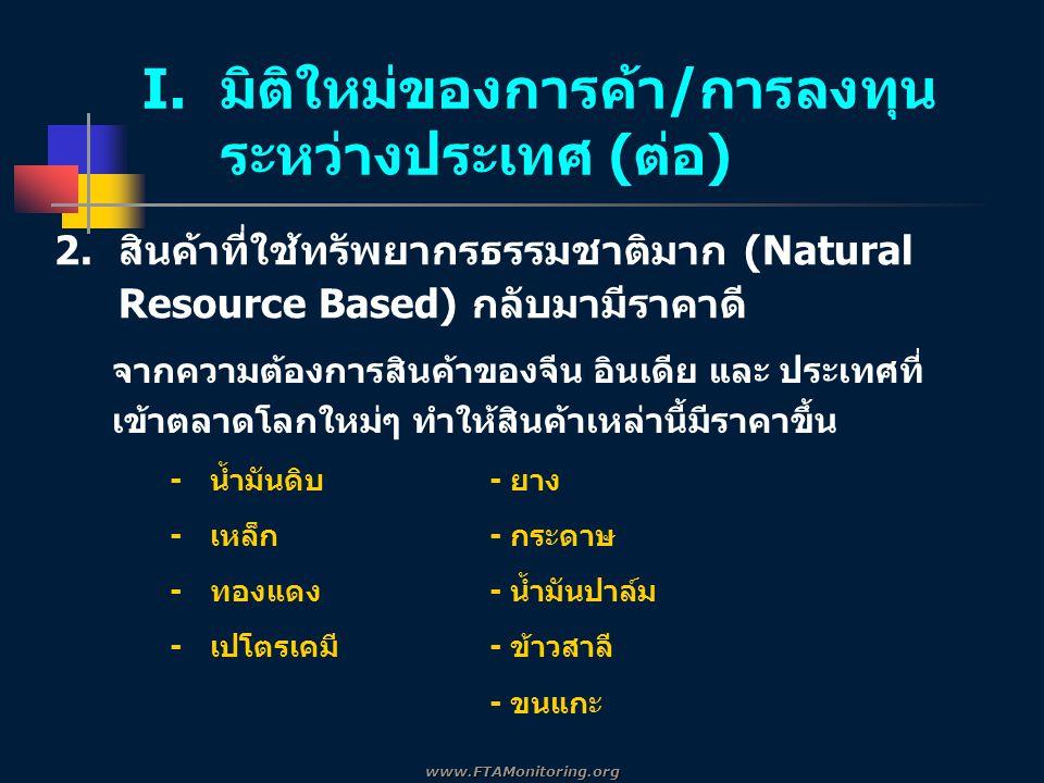 2.สินค้าที่ใช้ทรัพยากรธรรมชาติมาก (Natural Resource Based) กลับมามีราคาดี I.